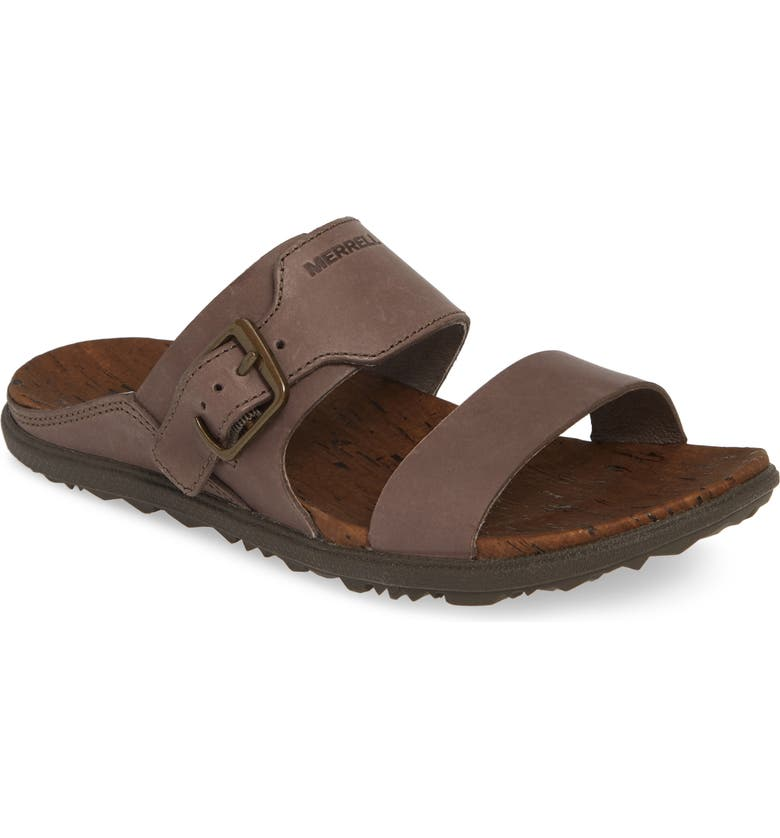 MERRELL Around Town Luxe Buckle Slide Sandal, Main, color, FALCON LEATHER