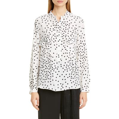 Stella Mccartney Dot Print Silk Crepe De Chine Blouse, US / 46 IT - White