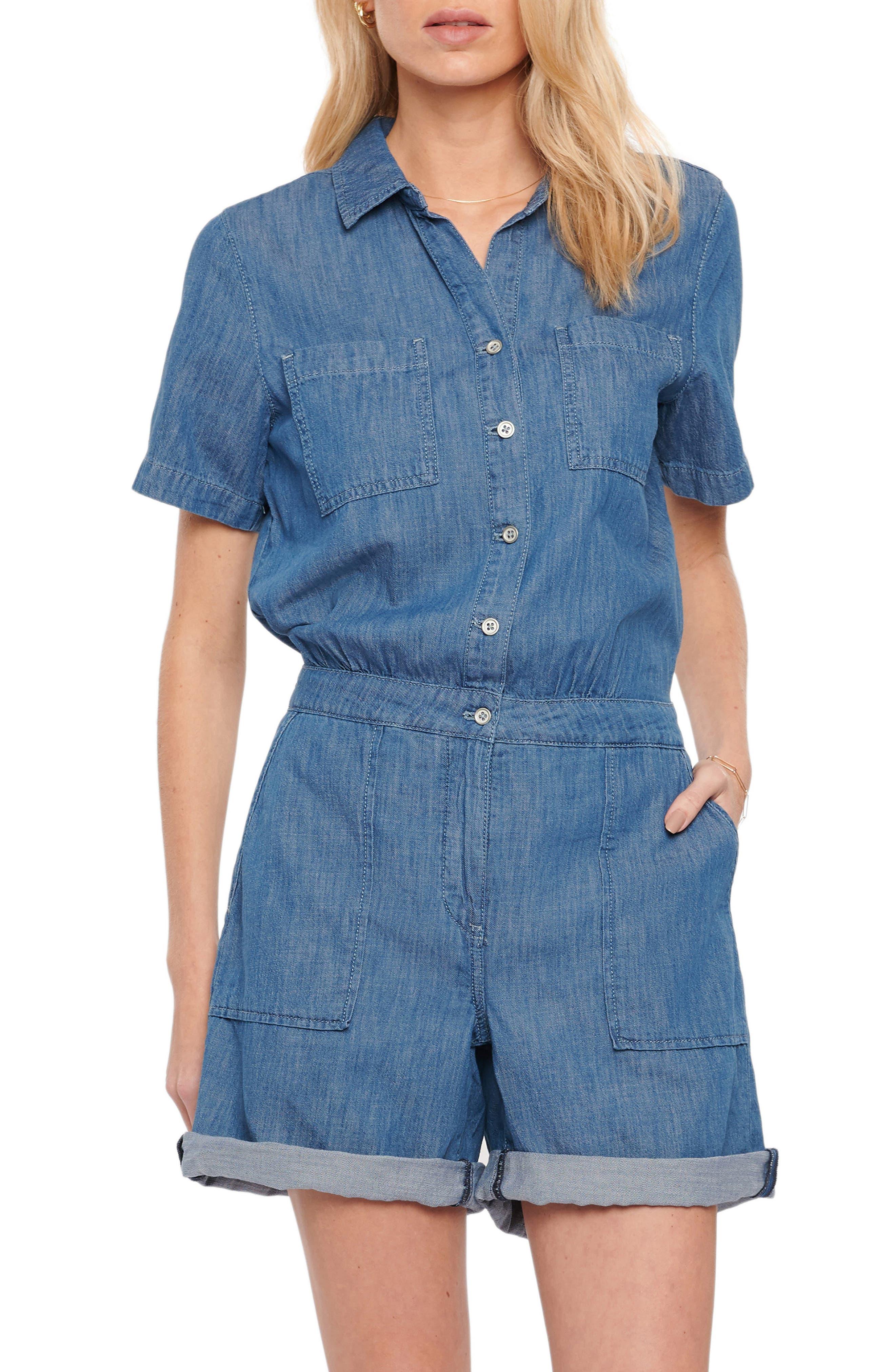 70s Shorts | Denim, High Rise, Athletic Womens Nydj Relaxed Denim Romper Size Large - Blue $129.00 AT vintagedancer.com