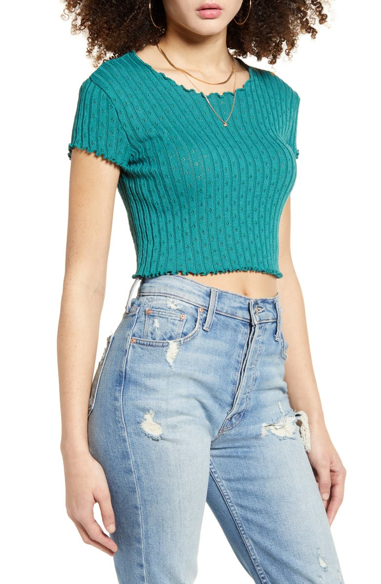 BDG URBAN OUTFITTERS Pointelle Sweater Tee, Main, color, TURQUOISE