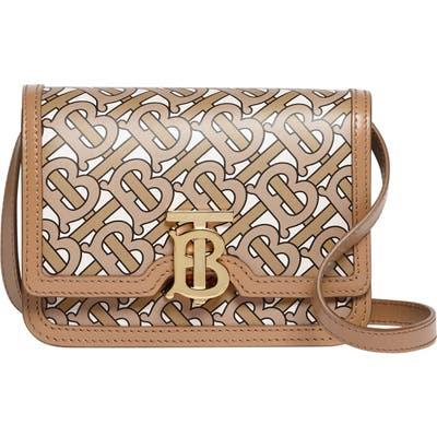 Burberry Mini Tb Monogram Leather Crossbody Bag - Beige