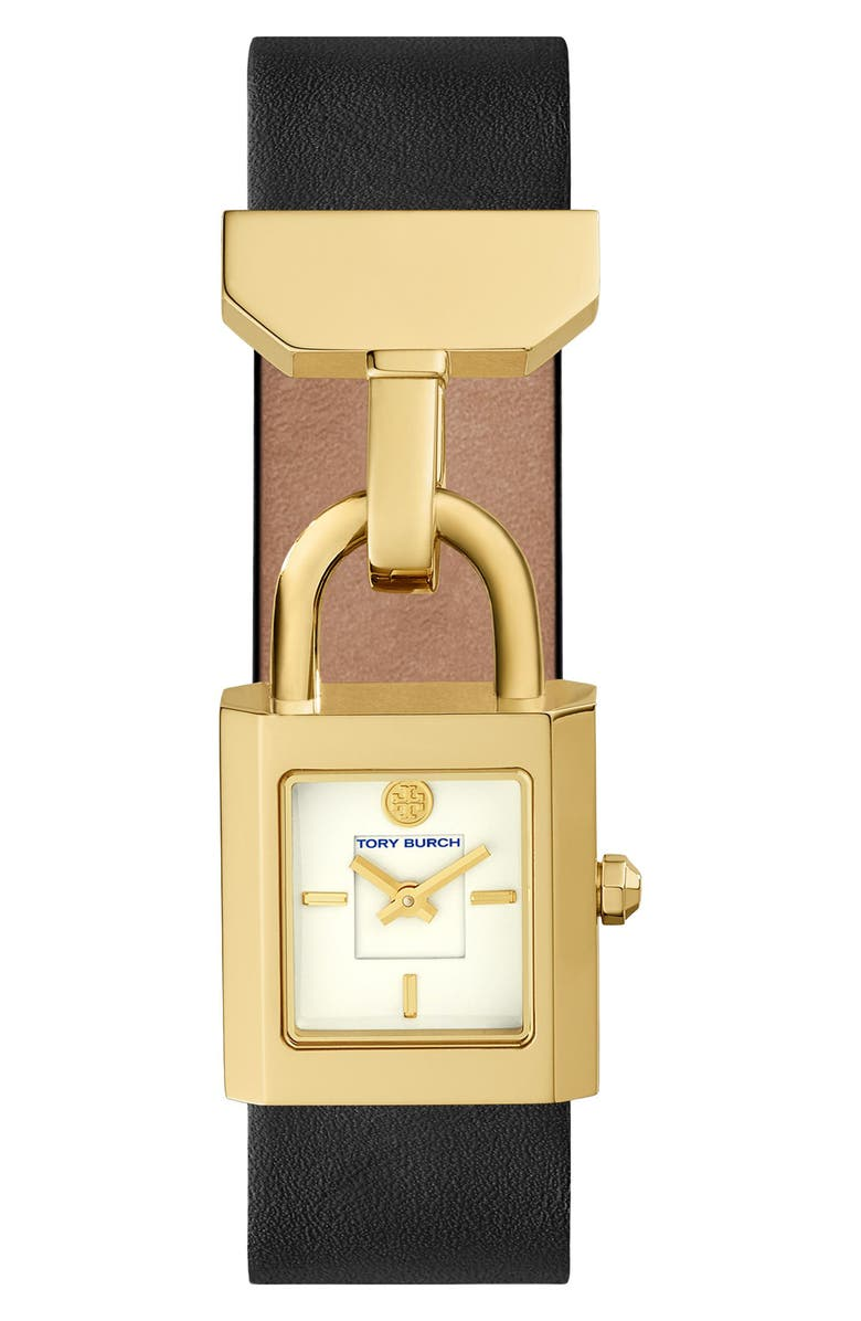 TORY BURCH Surrey Leather Strap Watch, 22mm x 23.5mm, Main, color, 001