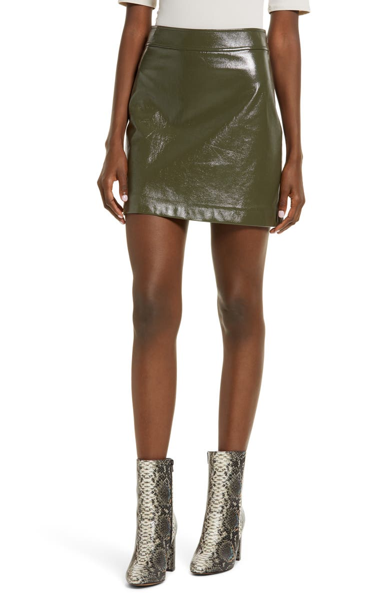 LEITH Faux Patent Miniskirt, Main, color, OLIVE NIGHT