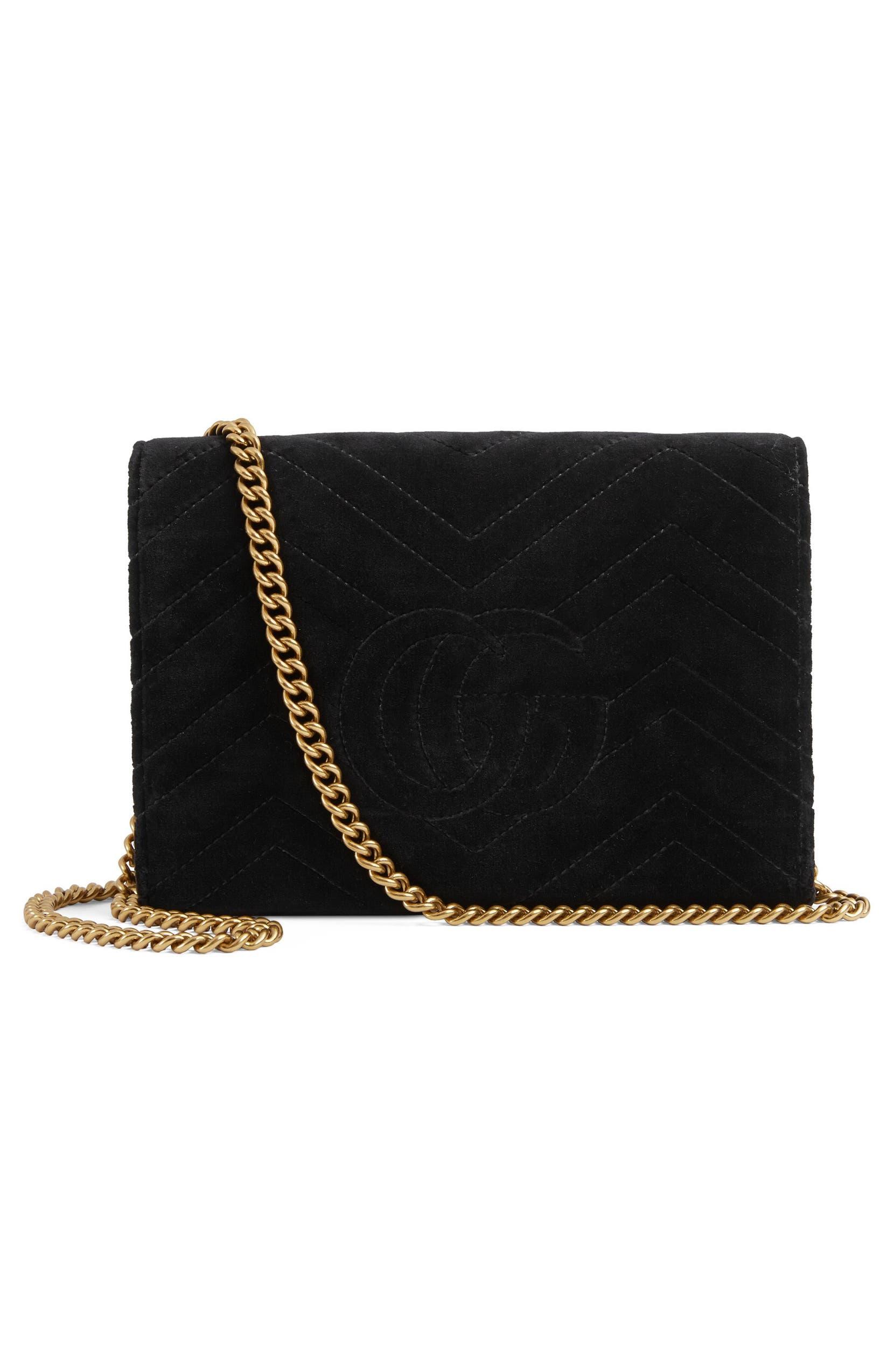 6b80959da987 Gucci GG Marmont 2.0 Matelassé Velvet Wallet on a Chain | Nordstrom