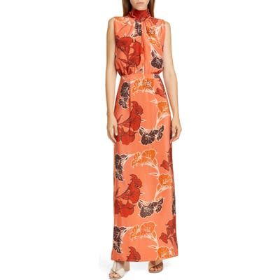Johanna Ortiz Beaded Floral Print Silk Crepe De Chine Maxi Dress, Coral
