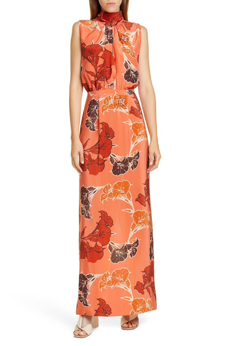 JOHANNA ORTIZ Beaded Floral Print Silk Crêpe de Chine Maxi Dress, Main, color, BUBBLE RUM/ CHOCOLATE