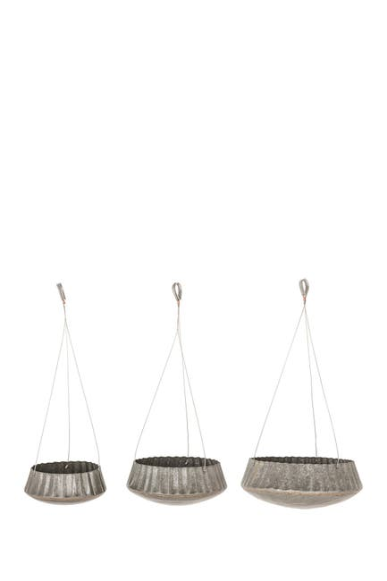 Image of Willow Row Grey Industrial Round Corrugated Iron Hanging Planter - Set of 3