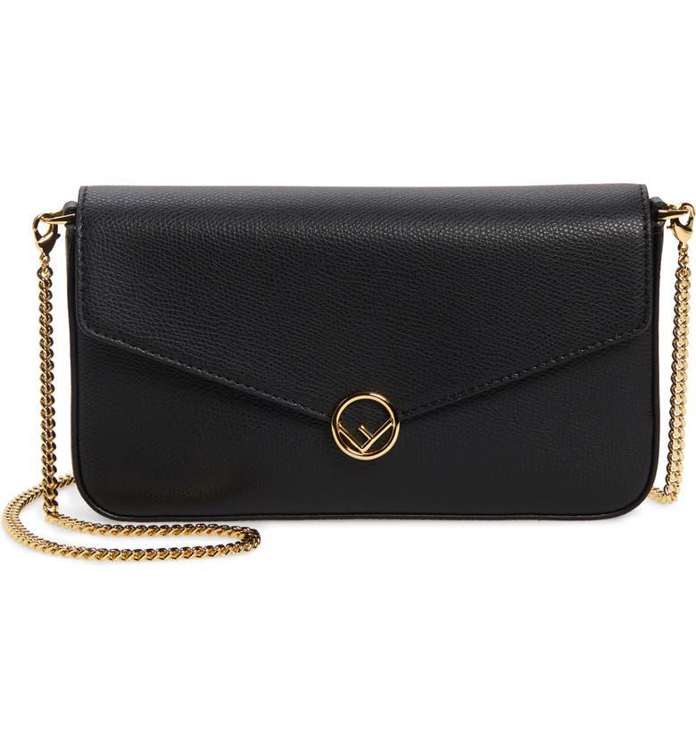 FENDI Calfskin Leather Shoulder Bag, Main, color, BLACK/ SOFT GOLD