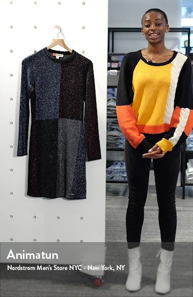 Colour by Numbers Redlo Metallic Long Sleeve Sweater Dress, sales video thumbnail