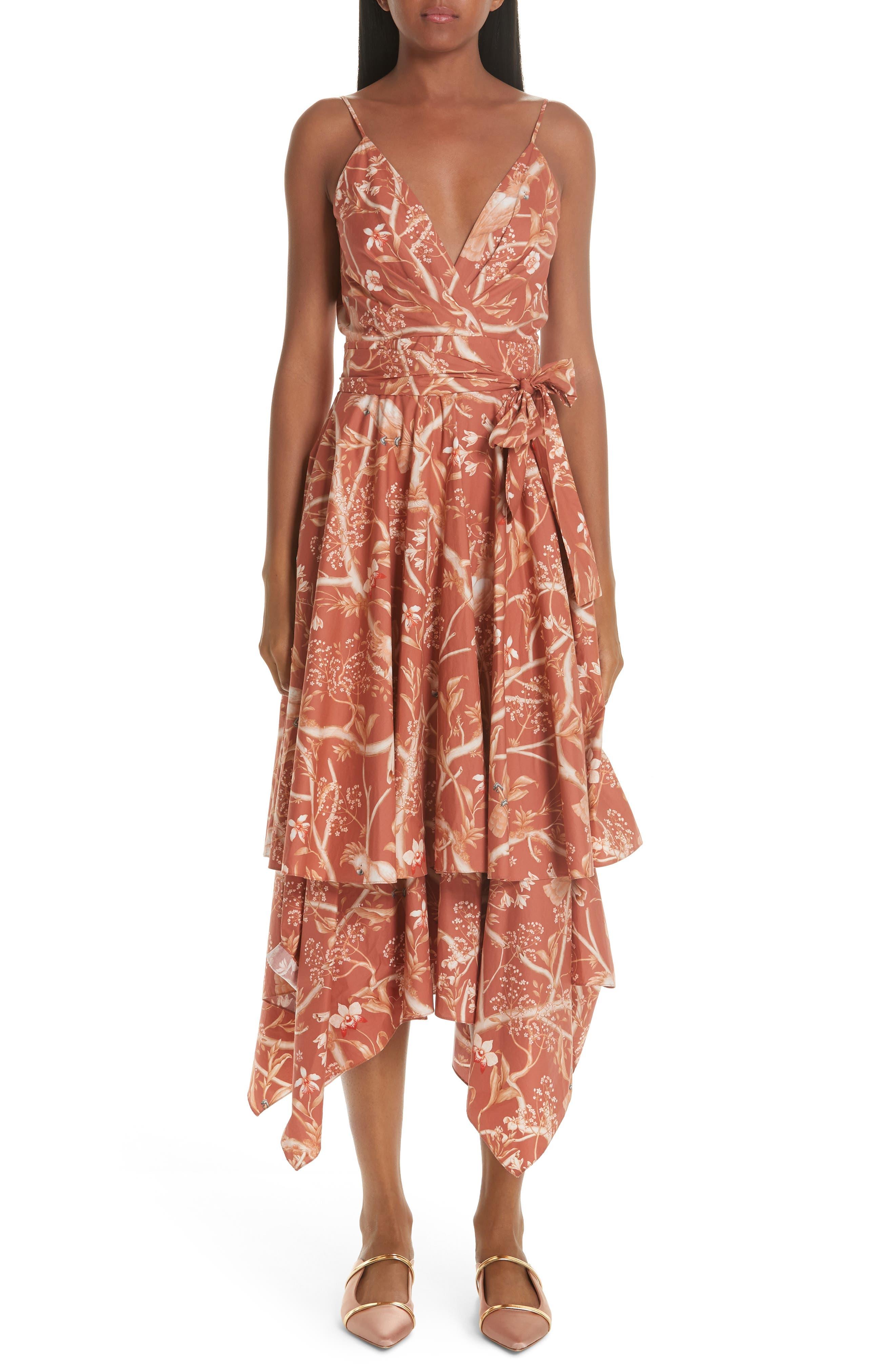Johanna Ortiz Ruffled Bird Print Cotton Midi Dress, Orange