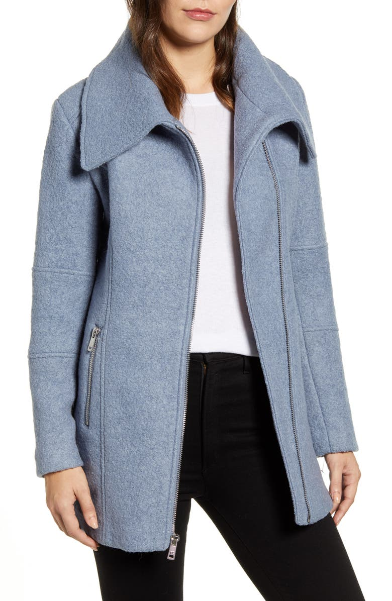 KENNETH COLE NEW YORK Kenneth Cole Wool Blend Bouclé Car Coat, Main, color, PERIWINKLE