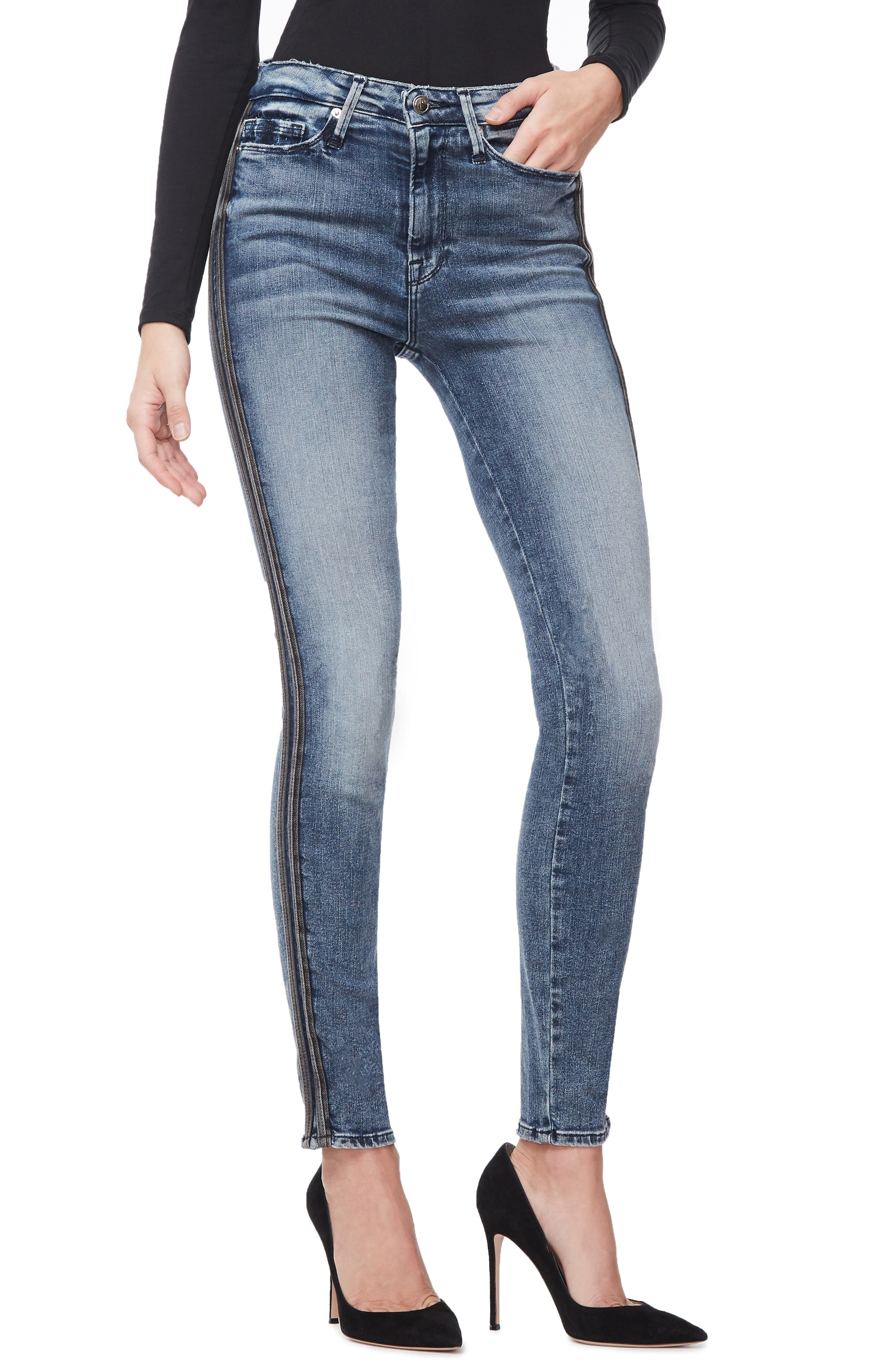 ,                             Good Waist Stripe Skinny Jeans,                             Alternate thumbnail 8, color,                             BLUE241