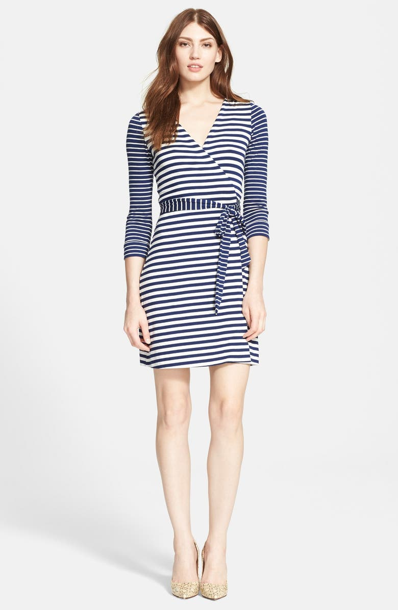 DIANE VON FURSTENBERG 'New Julian Two' Stripe Wrap Dress, Main, color, 493