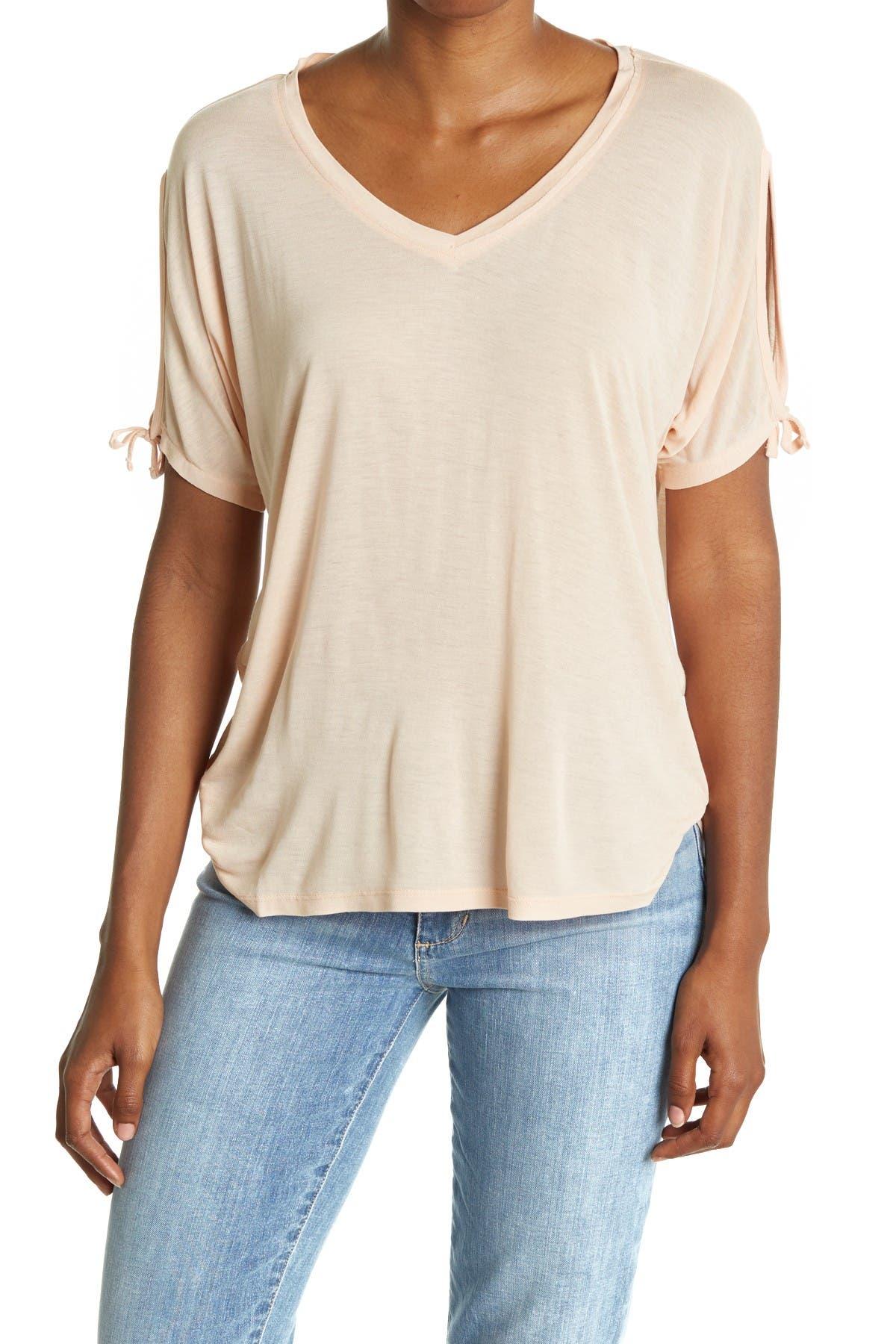 Image of ALLSAINTS Kay Tie Sleeve V-Neck T-Shirt