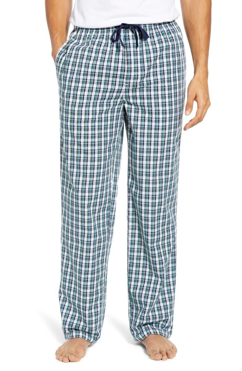 NORDSTROM MEN'S SHOP Poplin Pajama Pants, Main, color, WHITE TEAL PLAID