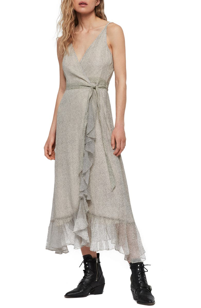 ALLSAINTS Dayla Speckle Wrap Sundress, Main, color, OYSTER WHITE