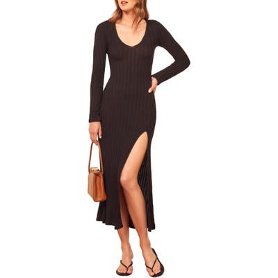 Reformation Mango Side Slit Long Sleeve Body-Con Dress, Black