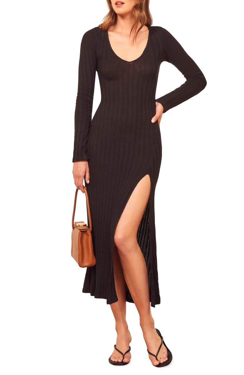 REFORMATION Mango Side Slit Long Sleeve Body-Con Dress, Main, color, BLACK