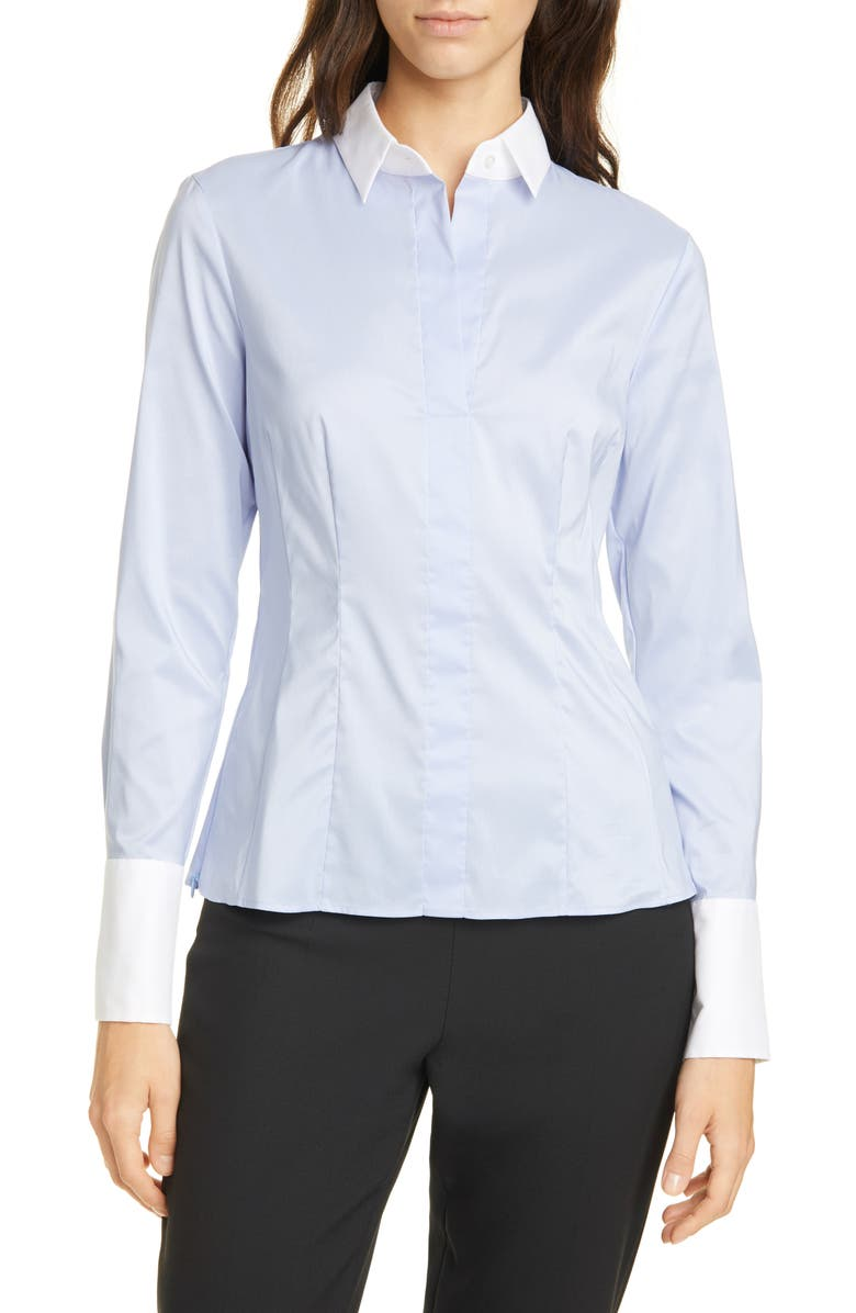 BOSS Bashnira Slim Fit Colorblock Cotton Blend Blouse, Main, color, FRENCH BLUE
