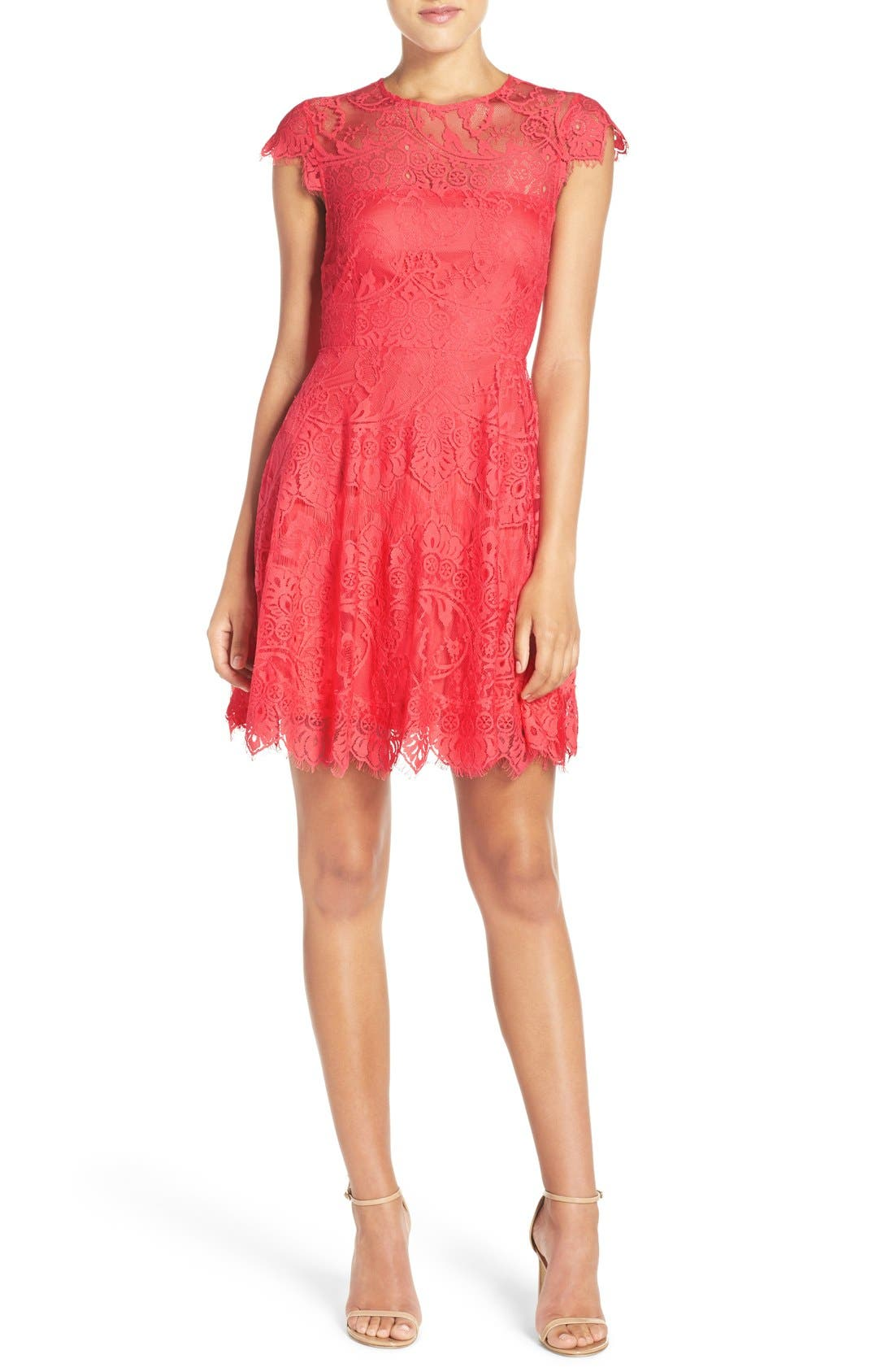 ,                             Rhianna Open Back Lace Fit & Flare Cocktail Dress,                             Main thumbnail 80, color,                             956