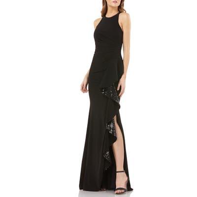 Carmen Marc Valvo Infusion Sleeveless Sequin Cascade Ruffle Gown, Black