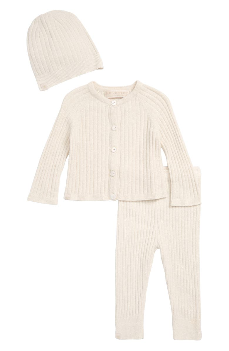 BAREFOOT DREAMS<SUP>®</SUP> CozyChic<sup>™</sup> Ultra Lite Ribbed Cardigan, Pants & Beanie Set, Main, color, SAND DUNE