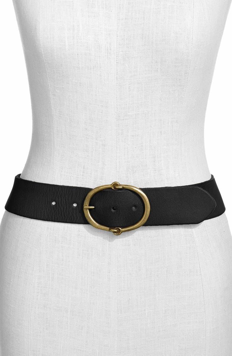 LAUREN RALPH LAUREN Leather Belt, Main, color, 001