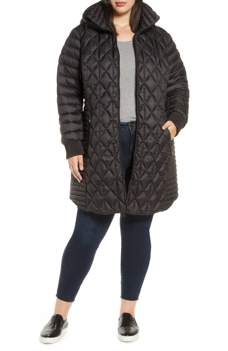 BERNARDO Multi Quilt Packable Hooded Puffer Coat, Main, color, BLACK