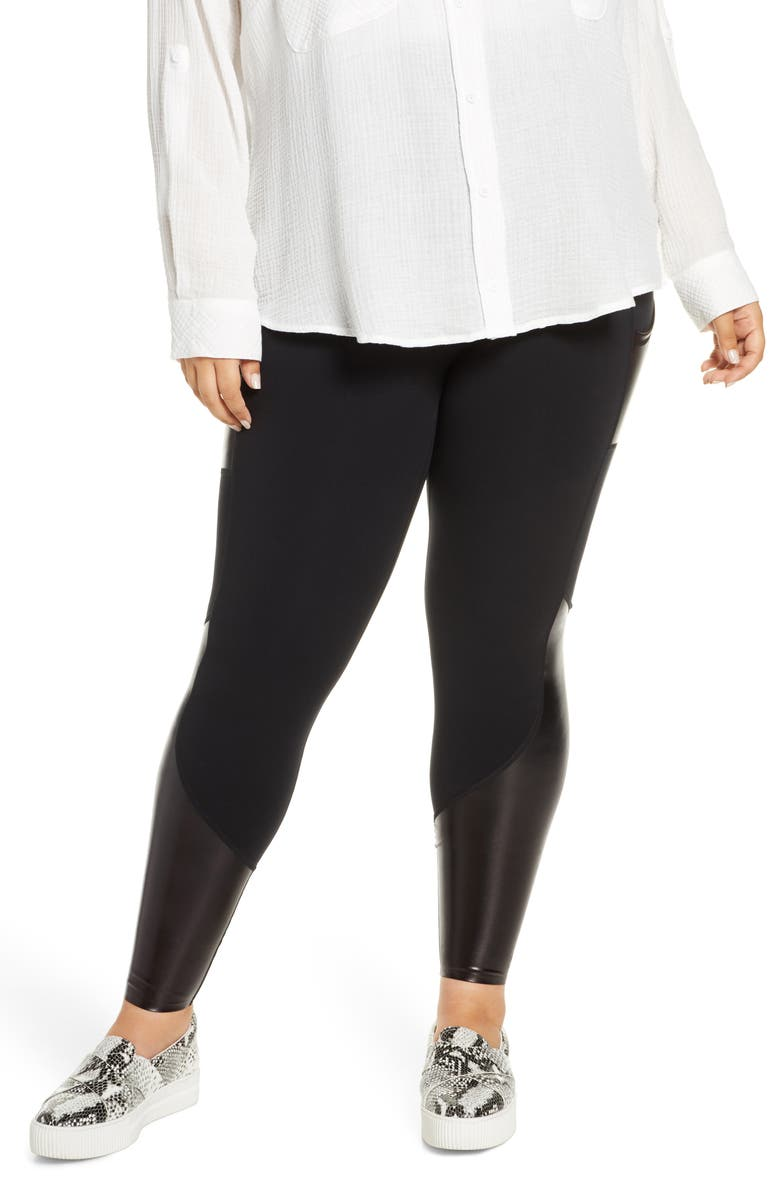 SPANX<SUP>®</SUP> Every.Wear Gloss Panel Pocket Active Leggings, Main, color, VERY BLACK