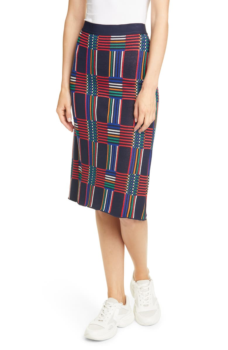 TORY SPORT BY TORY BURCH Tory Sport Check Knit Skirt, Main, color, 472