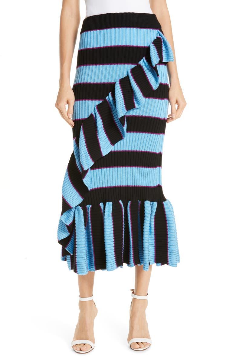 KENZO Ruffle Trim Ribbed Stripe Skirt, Main, color, 400