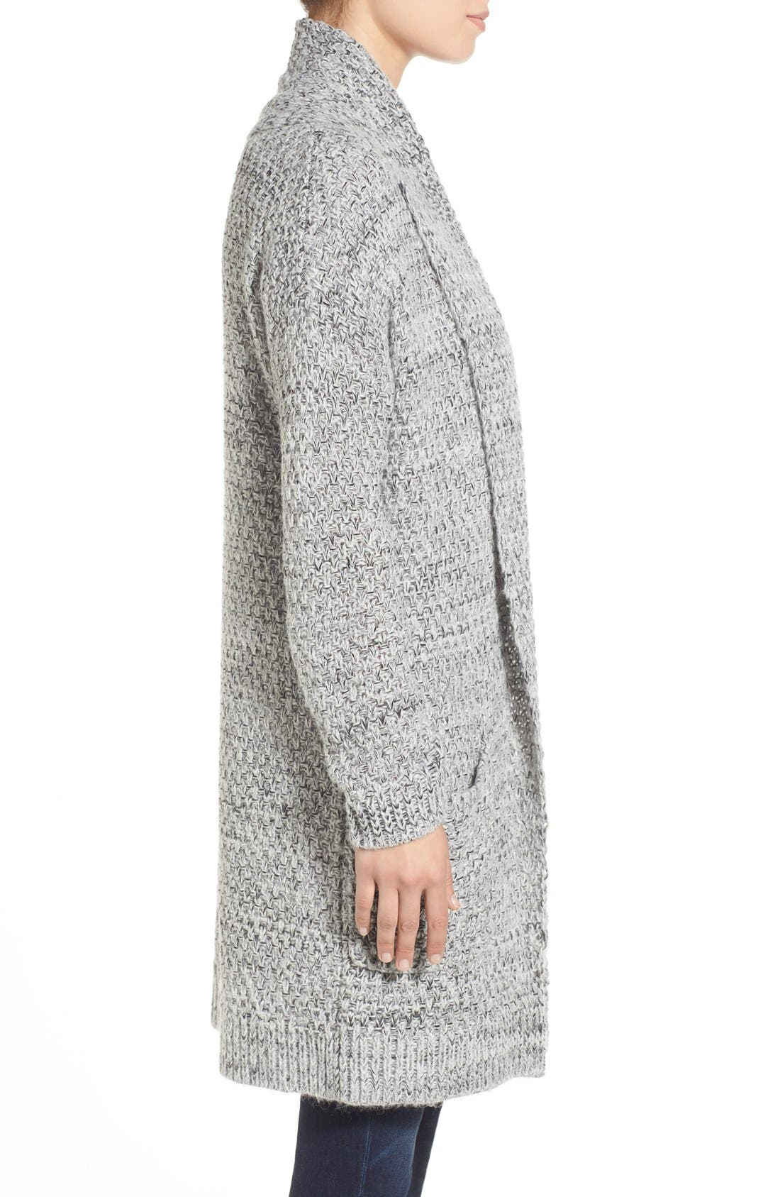 ,                             Marled Long Open Front Cardigan,                             Alternate thumbnail 7, color,                             020