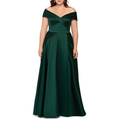 Plus Size Xscape Off The Shoulder Satin Ballgown