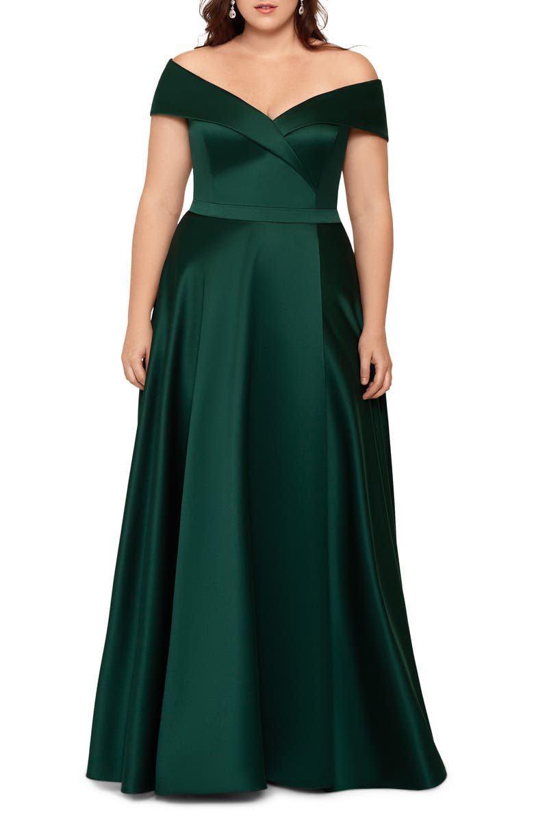 XSCAPE Off the Shoulder Satin Ballgown, Main, color, HUNTER