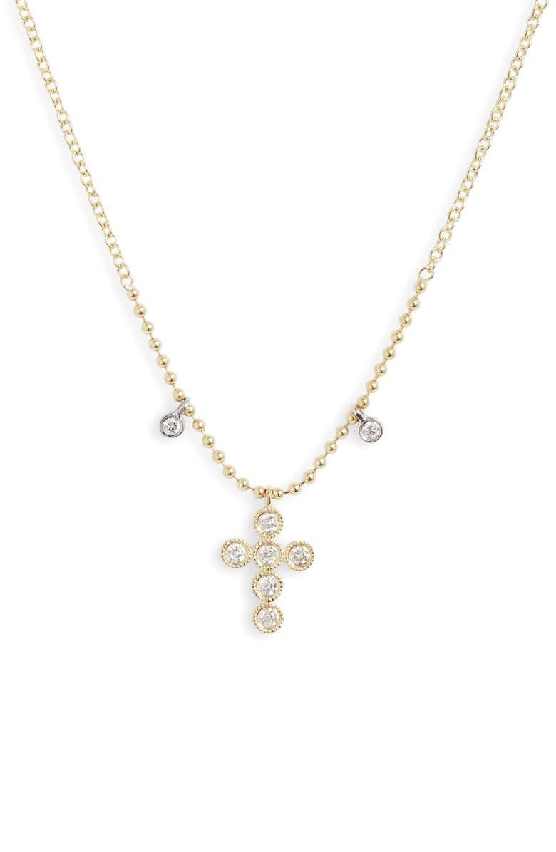 MEIRA T Meria T Diamond Cross Pendant Necklace, Main, color, YELLOW GOLD