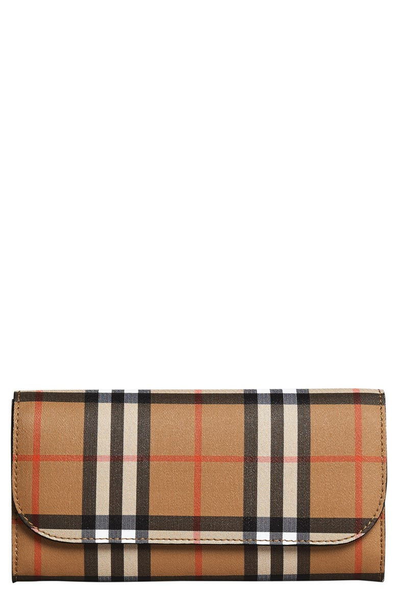 BURBERRY Halton Check Continental Wallet, Main, color, 001