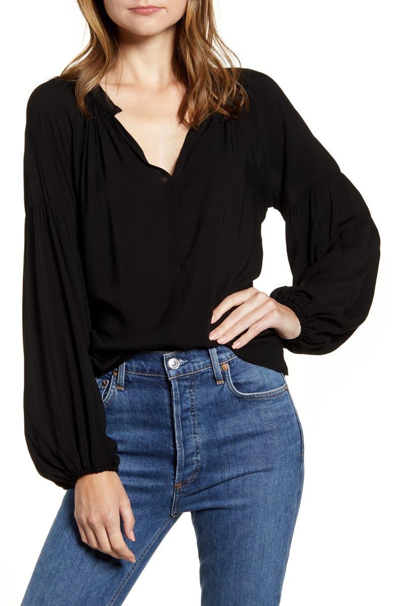 VELVET BY GRAHAM & SPENCER Challis Peasant Sleeve Blouse, Main, color, BLACK