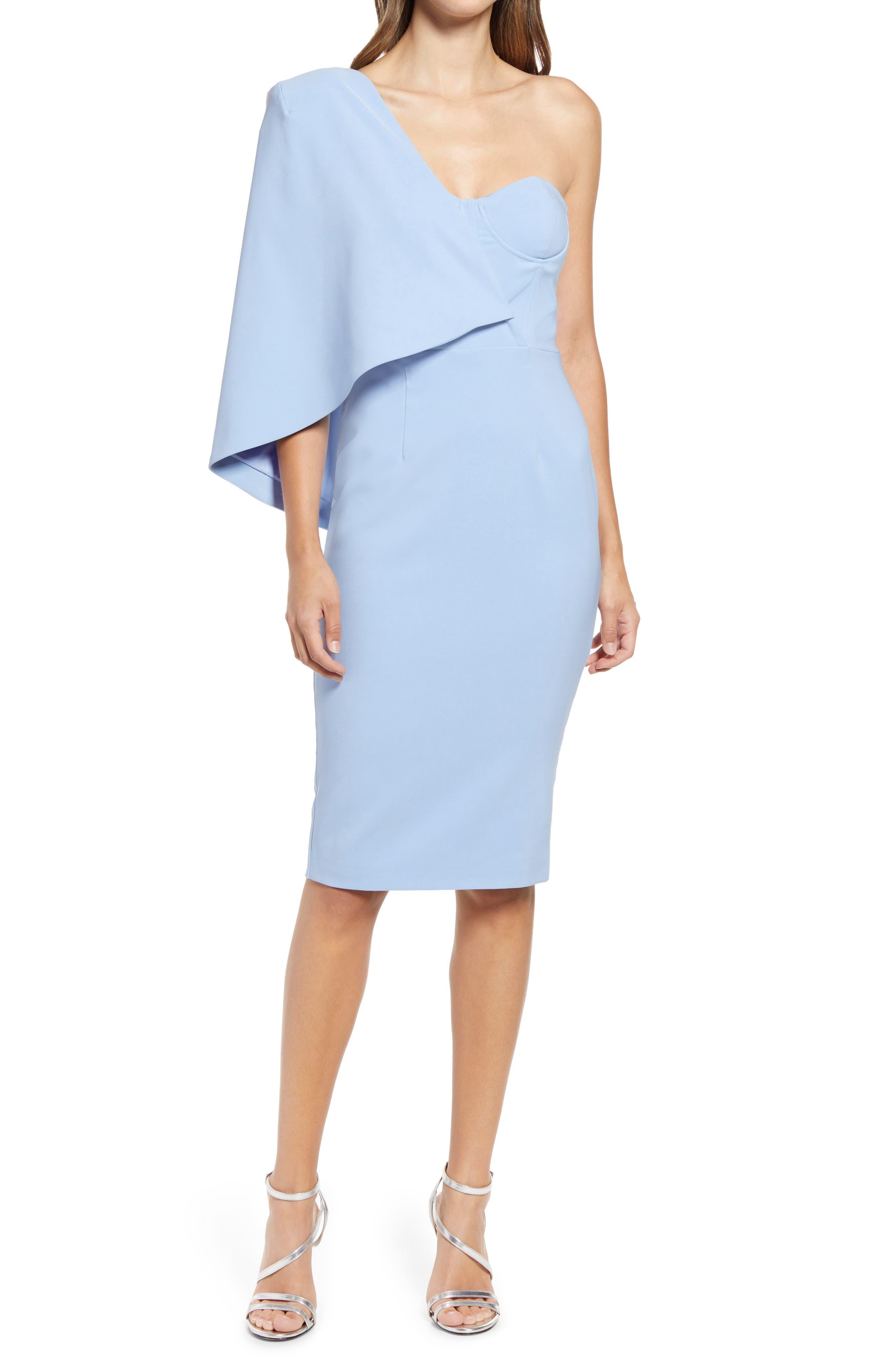 One-Shoulder Cape Midi Dress