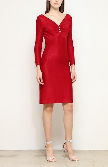 Evening Shimmer Float Knit Long Sleeve Dress, video thumbnail