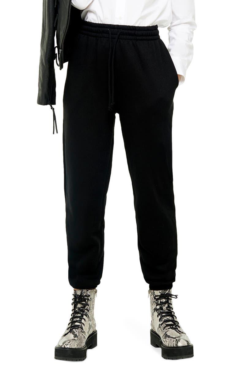 TOPSHOP High Waist Cotton Blend Sweatpants, Main, color, BLACK