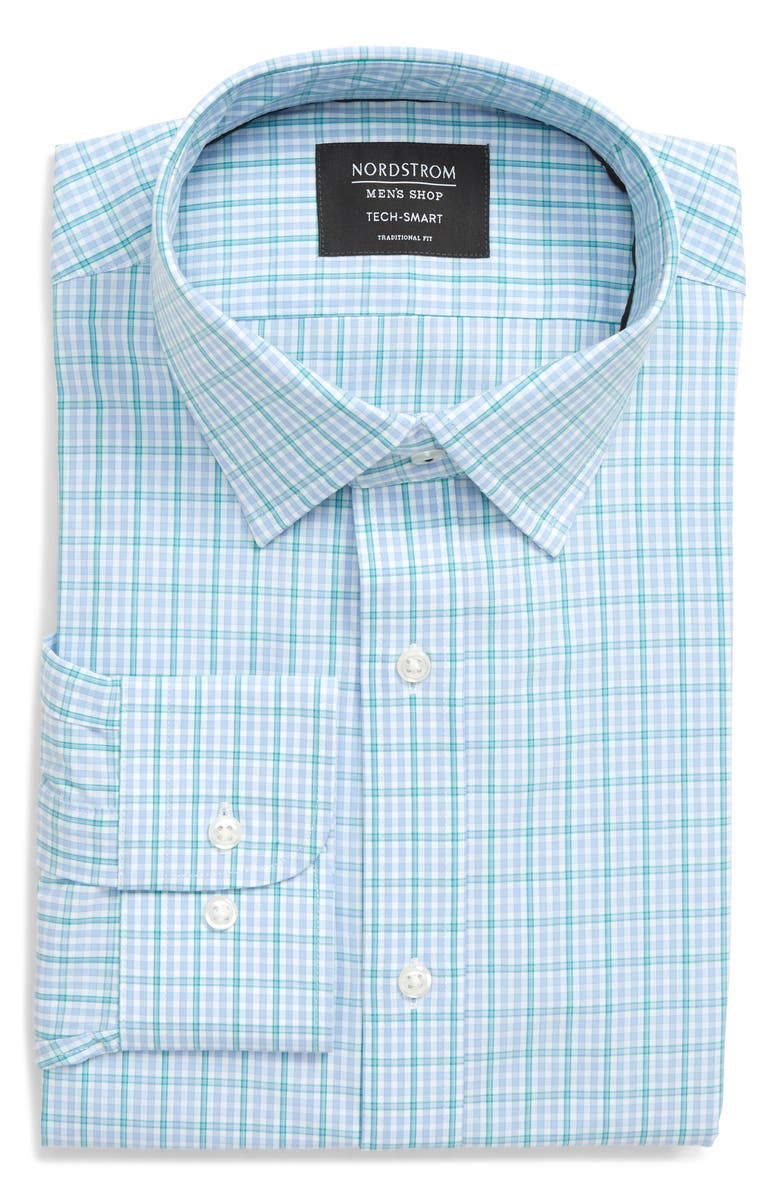 NORDSTROM MEN'S SHOP Tech-Smart Trim Fit Check Dress Shirt, Main, color, BLUE VISTA