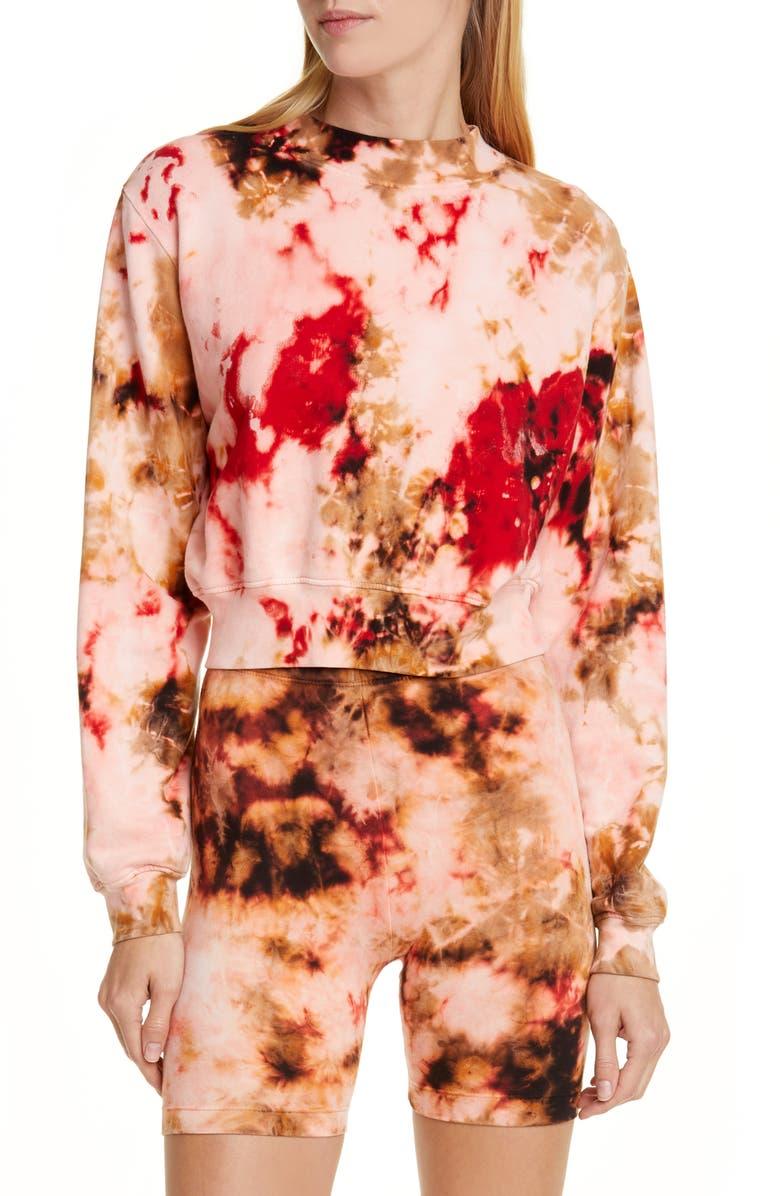 COTTON CITIZEN Milan Tie Dye Crop Sweatshirt, Main, color, CHERRY CURRENT