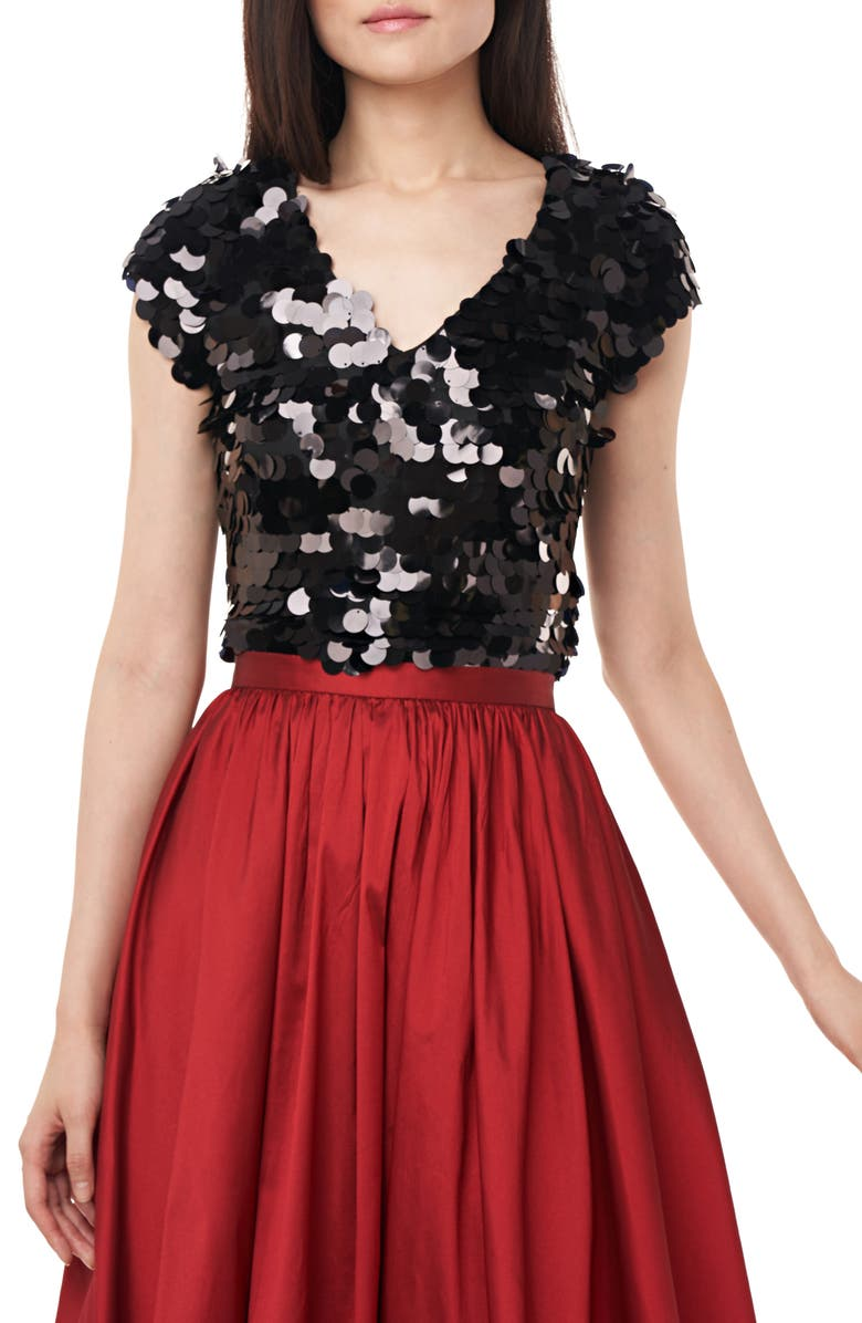 LOVE BY THEIA Paillette Cap Sleeve Top, Main, color, 001