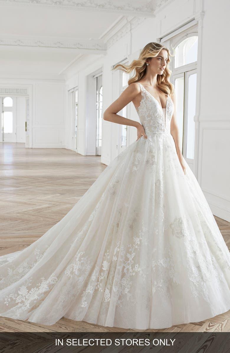 AIRE BARCELONA Estefan Lace Appliqué Ballgown Wedding Dress, Main, color, NATURAL/NUDE