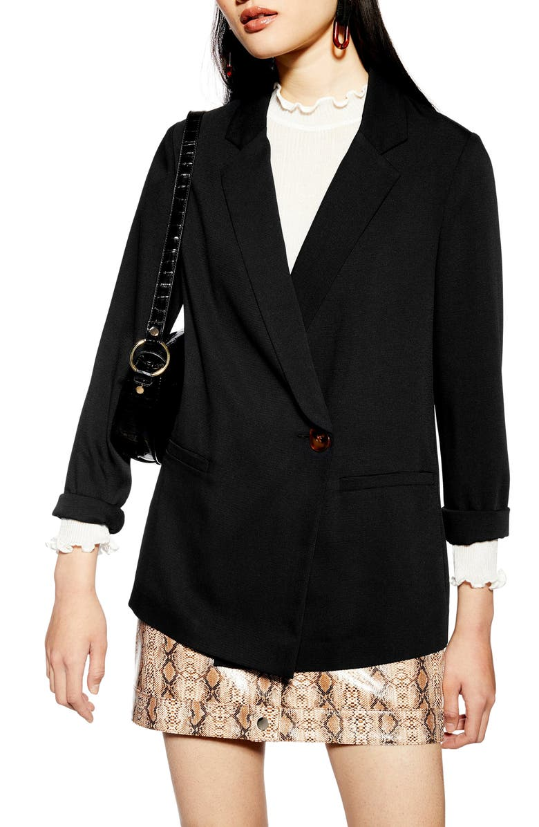 TOPSHOP Rita Blazer, Main, color, BLACK