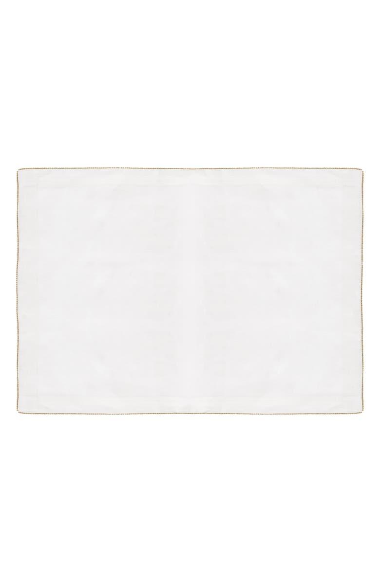 MICHAEL ARAM Set of 2 Beaded Linen Placemats, Main, color, WHITE