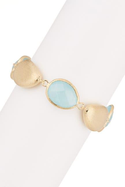 Image of Rivka Friedman 18K Gold Clad Faceted Caribbean Blue Quartzite & Pebble Bracelet