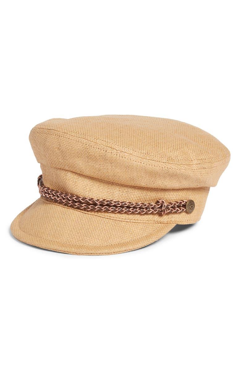 BRIXTON Kayla Straw Baker Boy Cap, Main, color, TAN