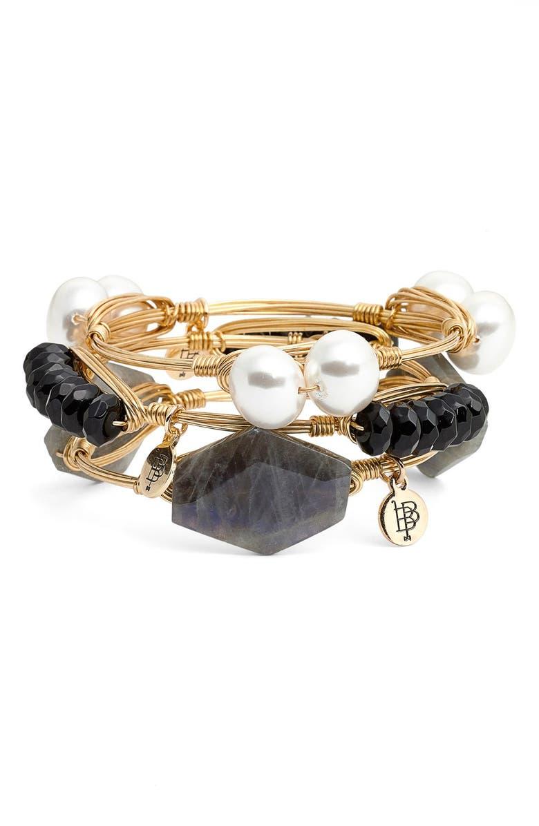 BOURBON AND BOWETIES Bourbon & Boweties Black & Labradorite Stone Bracelets, Main, color, 001