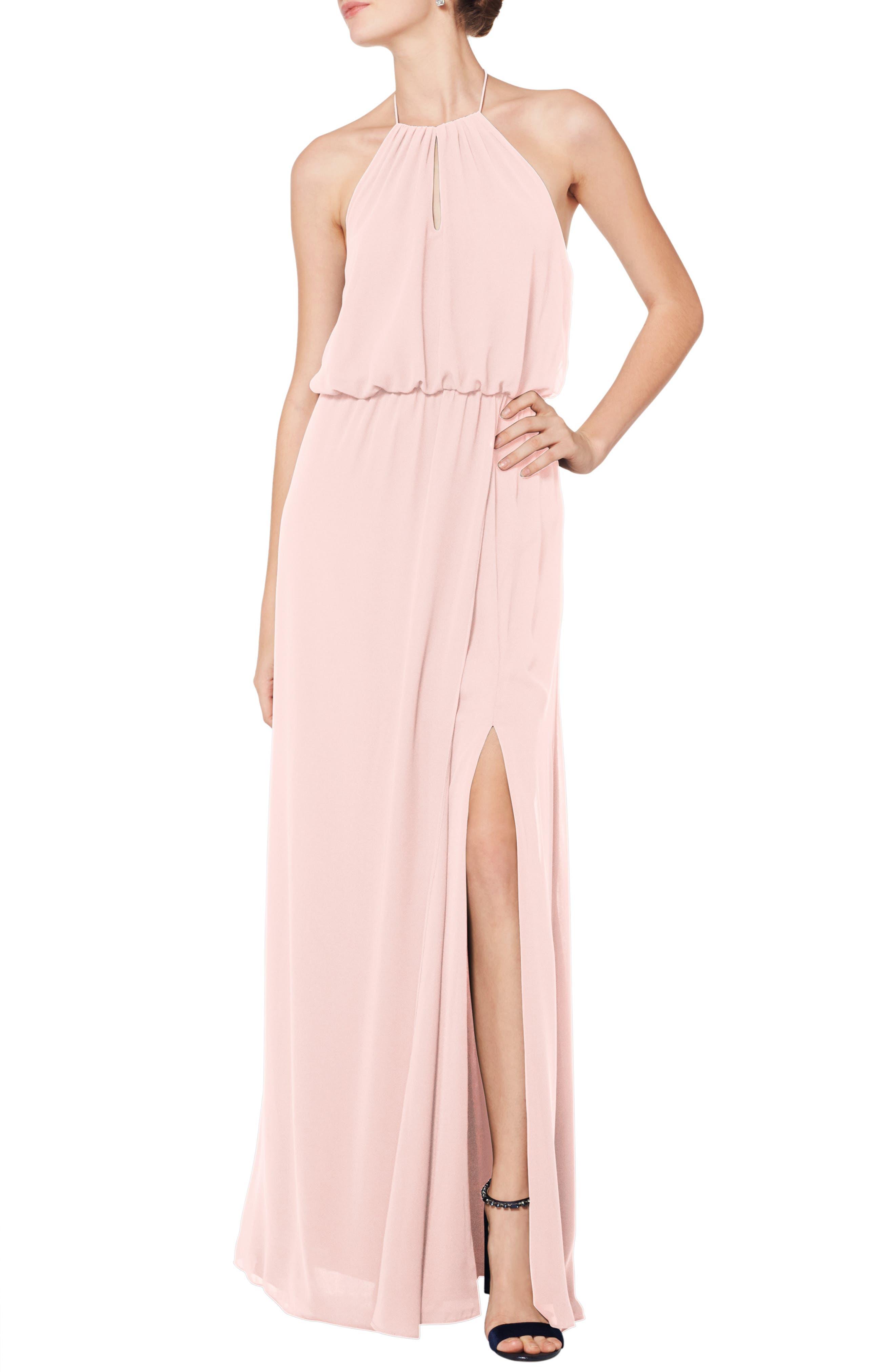 #levkoff Halter Keyhole Blouson Chiffon Evening Dress, Pink